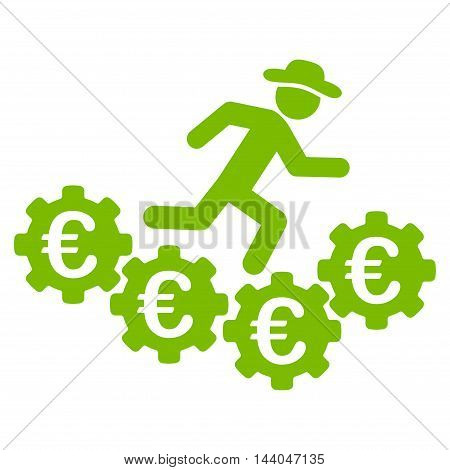 Euro Gears Runner icon. Glyph style is flat iconic symbol, eco green color, white background.