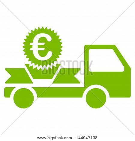 Euro Gift Delivery icon. Glyph style is flat iconic symbol, eco green color, white background.