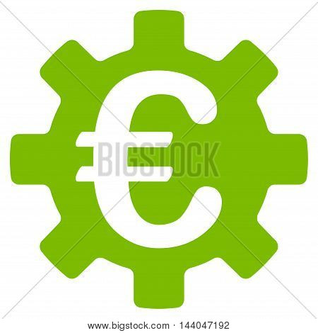 Euro Machinery Gear icon. Glyph style is flat iconic symbol, eco green color, white background.