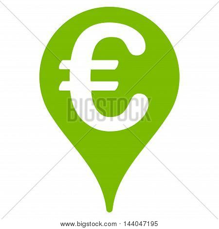 Euro Map Pointer icon. Glyph style is flat iconic symbol, eco green color, white background.