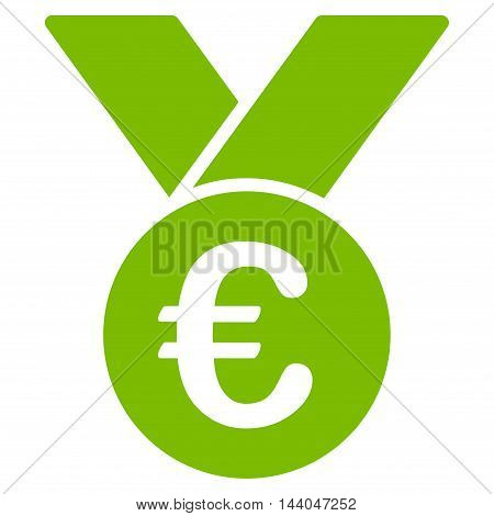 Euro Prize Medal icon. Glyph style is flat iconic symbol, eco green color, white background.