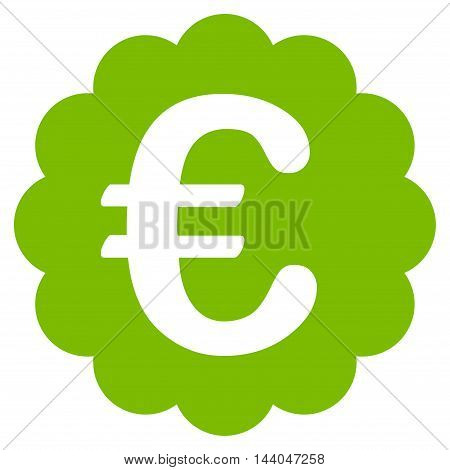 Euro Quality Seal icon. Glyph style is flat iconic symbol, eco green color, white background.