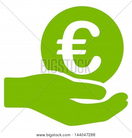 Euro Salary icon. Glyph style is flat iconic symbol, eco green color, white background.