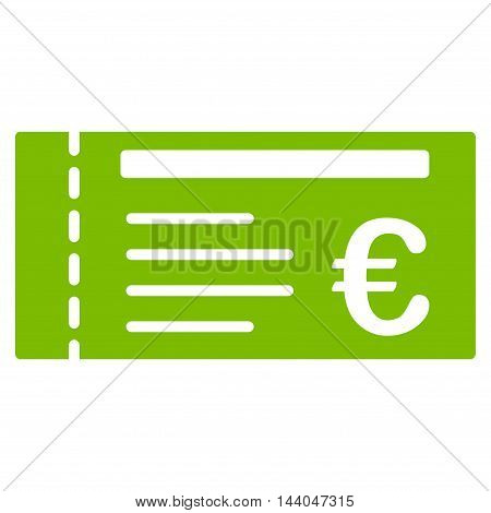 Euro Ticket icon. Glyph style is flat iconic symbol, eco green color, white background.