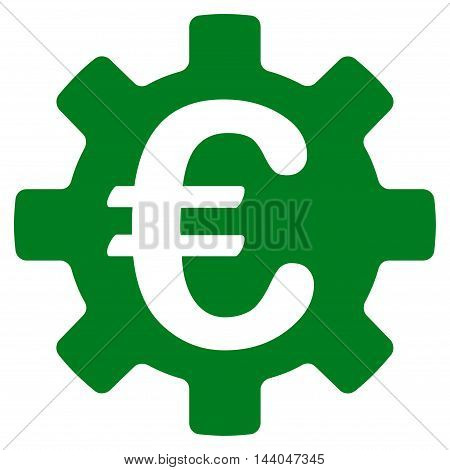 Euro Machinery Gear icon. Glyph style is flat iconic symbol, green color, white background.