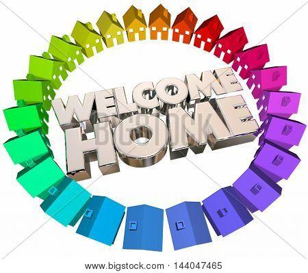 Welcome Home Greeting Return Back Houses 3d Illustration