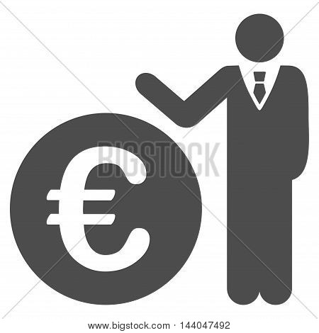 Euro Economist icon. Glyph style is flat iconic symbol, gray color, white background.