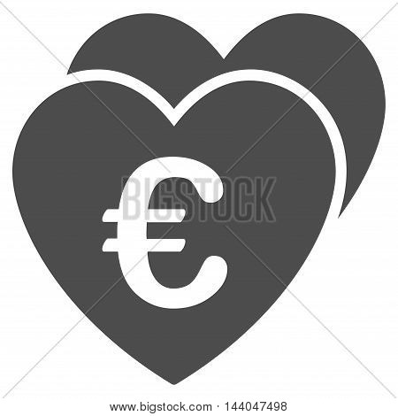 Euro Favorites Hearts icon. Glyph style is flat iconic symbol, gray color, white background.