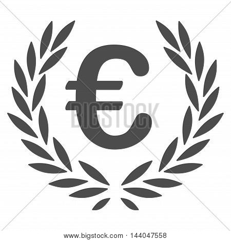 Euro Laurel Wreath icon. Glyph style is flat iconic symbol, gray color, white background.
