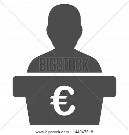 Euro Politician icon. Glyph style is flat iconic symbol, gray color, white background.