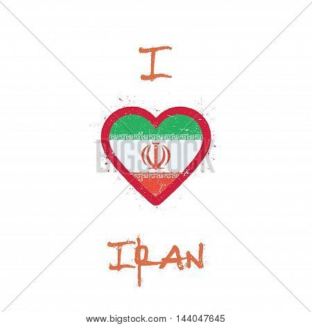 I Love Iran, Islamic Republic Of T-shirt Design. Iranian Flag In The Shape Of Heart On White Backgro