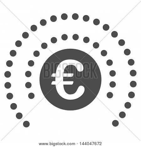 Euro Shield Sphere icon. Glyph style is flat iconic symbol, gray color, white background.