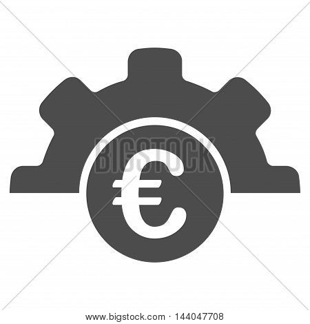 Euro Technology icon. Glyph style is flat iconic symbol, gray color, white background.