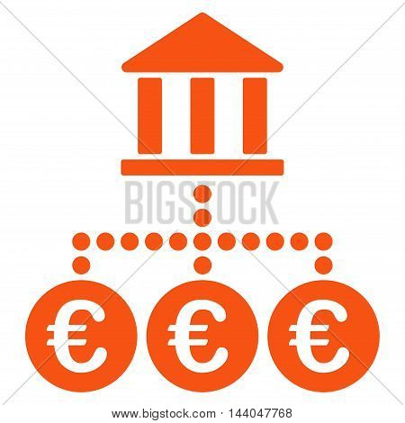 Euro Bank Transactions icon. Glyph style is flat iconic symbol, orange color, white background.