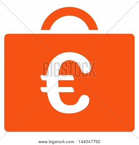 Euro Bookkeeping Case icon. Glyph style is flat iconic symbol, orange color, white background.