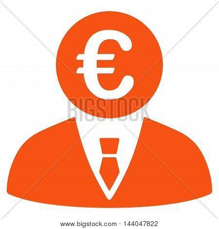 Euro Clerk icon. Glyph style is flat iconic symbol, orange color, white background.