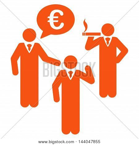 Euro Discuss People icon. Glyph style is flat iconic symbol, orange color, white background.