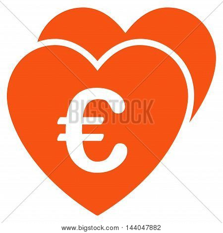 Euro Favorites Hearts icon. Glyph style is flat iconic symbol, orange color, white background.