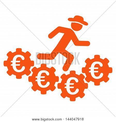 Euro Gears Runner icon. Glyph style is flat iconic symbol, orange color, white background.