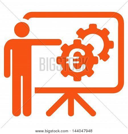 Euro Industrial Project Presentation icon. Glyph style is flat iconic symbol, orange color, white background.