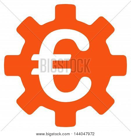 Euro Machinery Gear icon. Glyph style is flat iconic symbol, orange color, white background.