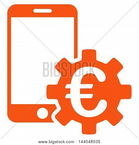 Euro Mobile Bank Configuration icon. Glyph style is flat iconic symbol, orange color, white background.