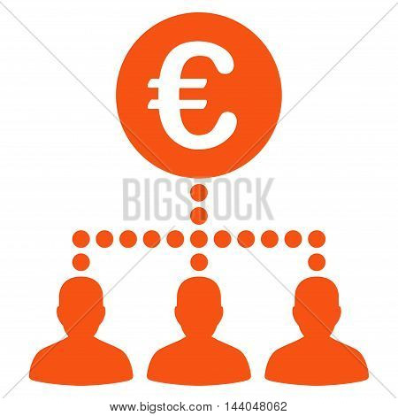 Euro Payment Clients icon. Glyph style is flat iconic symbol, orange color, white background.