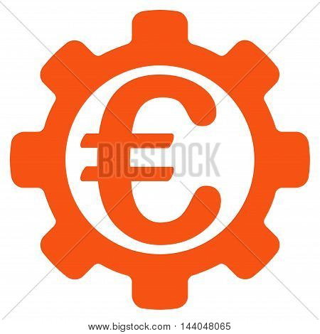 Euro Payment Options icon. Glyph style is flat iconic symbol, orange color, white background.