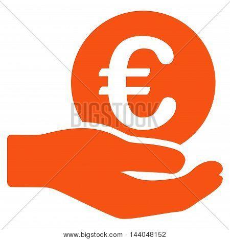 Euro Salary icon. Glyph style is flat iconic symbol, orange color, white background.