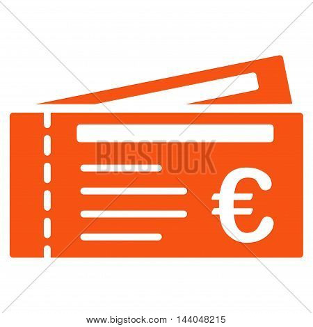 Euro Tickets icon. Glyph style is flat iconic symbol, orange color, white background.