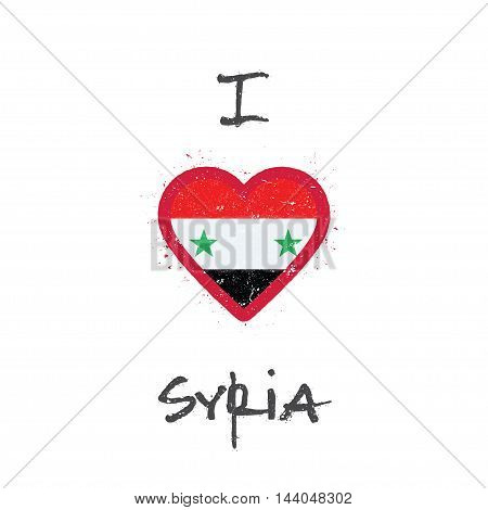 I Love Syrian Arab Republic T-shirt Design. Syrian Flag In The Shape Of Heart On White Background. G