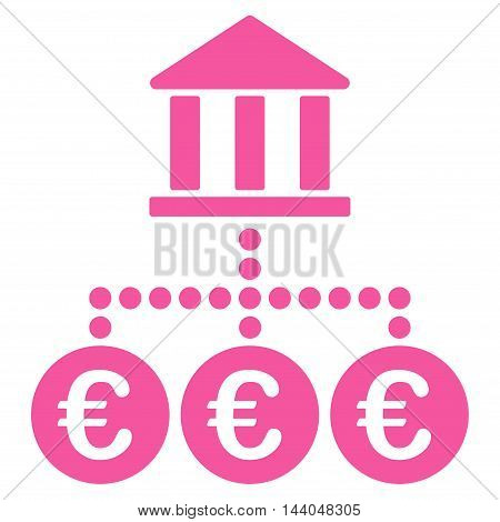 Euro Bank Transactions icon. Glyph style is flat iconic symbol, pink color, white background.
