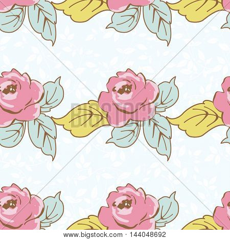 Seamless floral pattern with watercolor rose on leaves Vector Illustration EPS8