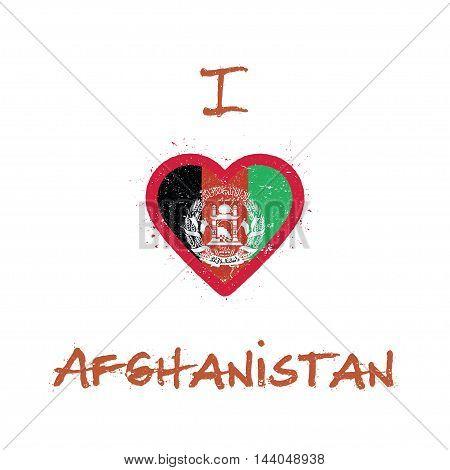 I Love Afghanistan T-shirt Design. Afghan Flag In The Shape Of Heart On White Background. Grunge Vec