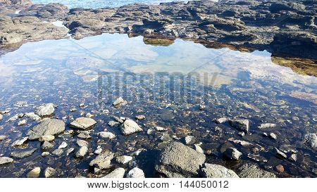 sky reflecting on to a rock pool