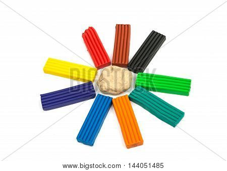 modeling clay colorful on a white background