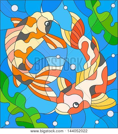 Illustration in stained glass style with a pair of carps on the background of water and algae