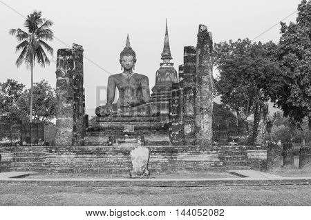Sukhothai historical park the old town of Thailand in 800 year ago Black and white tone