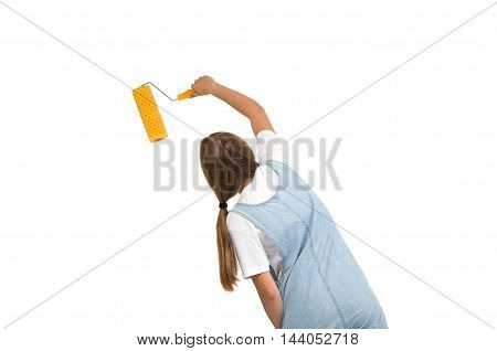 woman holding a paint roller. tools for DIY painting