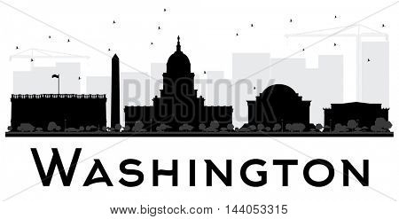 Washington DC City skyline black and white silhouette. Simple flat concept for tourism presentation, banner, placard or web site. Business travel concept. Cityscape with landmarks