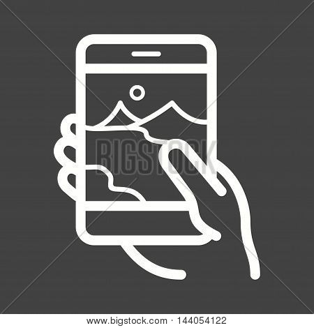 Taking, picture, phone icon vector image. Can also be used for hand actions. Suitable for mobile apps, web apps and print media.