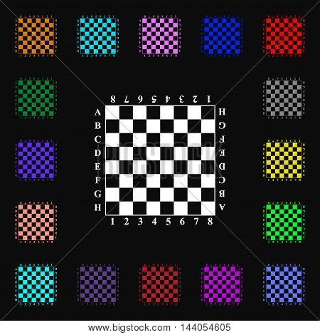 Modern Chess Board Icon Sign. Lots Of Colorful Symbols For Your Design. Vector