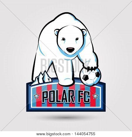 polar bear soccer emblem design on gray background
