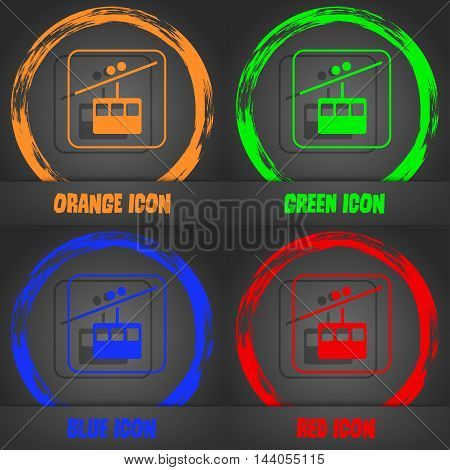 Cable Car Line Icon. Fashionable Modern Style. In The Orange, Green, Blue, Red Design. Vector