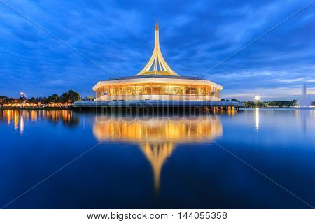 Monument at public park against water wave and blue sky at Suanluang Rama 9 Thailand