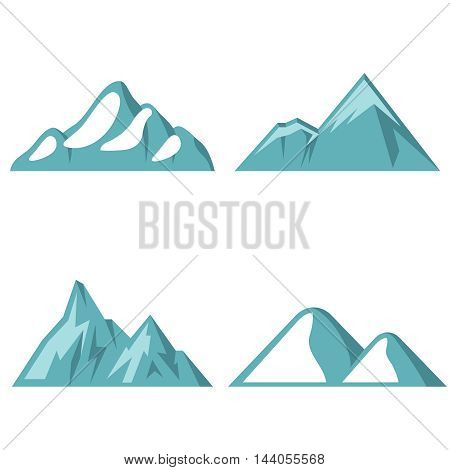 Blue mountain flat icons on white background. Element logo for travel company. Vector illustration