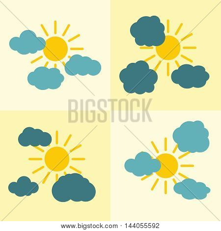 Clouds flat icons on yellow background with sun. Weather icon with yellow sun. Vector illustration