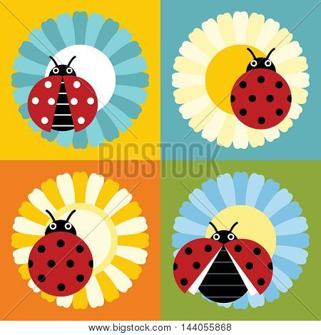Ladybugs in flower in flat style isolated on color background. Vector illustration