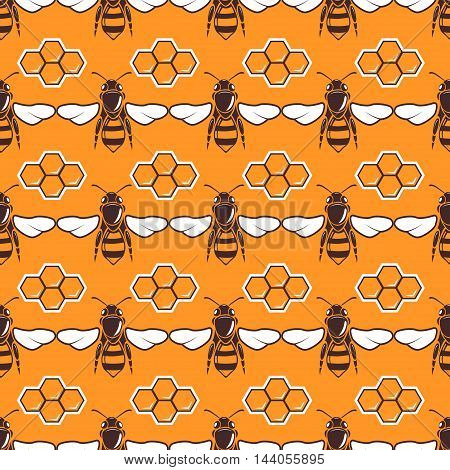 Bees, honey vector seamless pattern in brown and orange color, honeycomb illustration