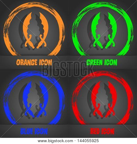 Saber Icon. Fashionable Modern Style. In The Orange, Green, Blue, Red Design. Vector